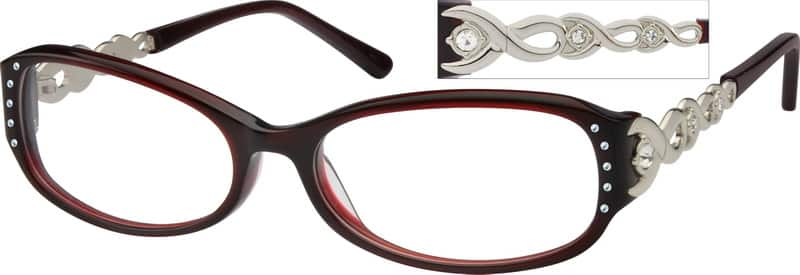 Red Full Rim Acetate Frames With Design On Temples 407247