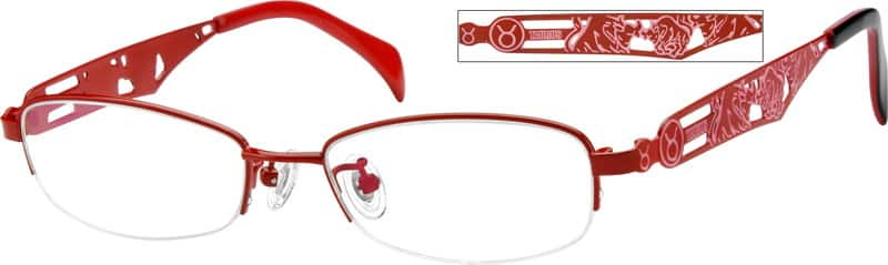 Women Half Rim Stainless Steel Eyeglasses #411419