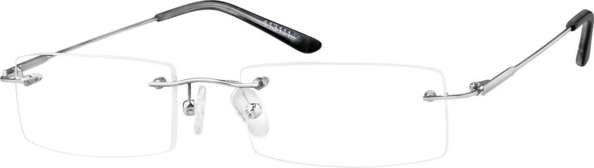 Silver Rimless Metal Frame With Designer Temples 4131