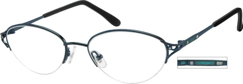 Women Half Rim Metal Eyeglasses #413911