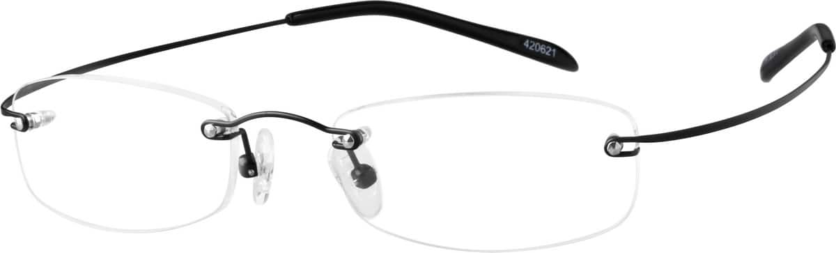 Black4206 Hingeless, Rimless Stainless Steel (Same Appearance as Frame #8206)