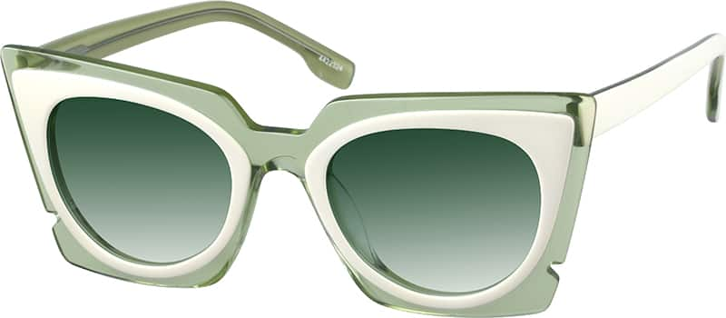 Melrose Cat Eye Glasses Mirrored Green Tint