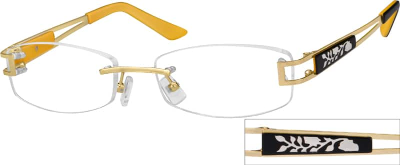 Gold 4539 Rimless Metal Frame with Designer Temples
