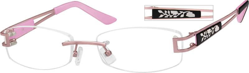 Pink 4539 Rimless Metal Frame with Designer Temples