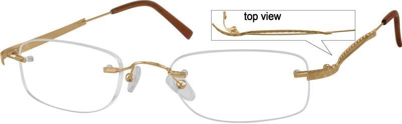 Zenni Optical Rimless Glasses : Gold Rimless Stainless Steel #4661 Zenni Optical Eyeglasses