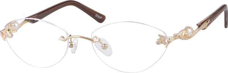 Women Rimless Mixed Materials Eyeglasses #467014