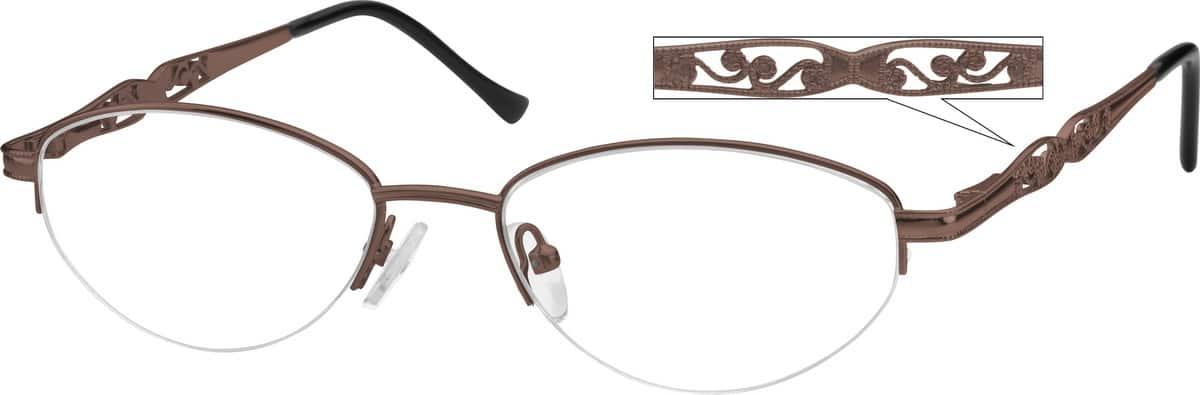 WomenHalf RimMetalEyeglasses #467714