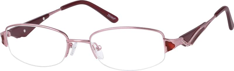 Women Half Rim Mixed Materials Eyeglasses #479219