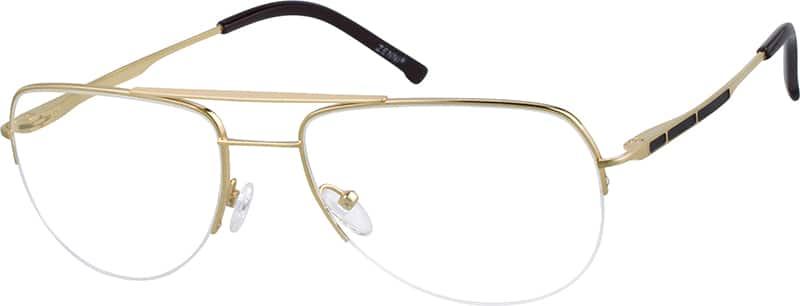 Titanium Half Rim Eyeglass Frames : Gold Pure Titanium Half-Rim Frame With Spring Hinges #5221 ...