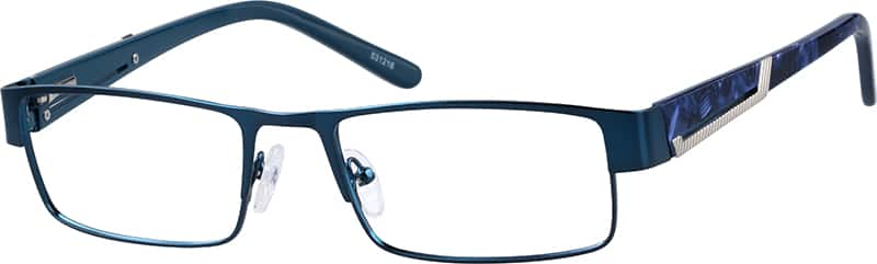 Stainless Steel Full-Rim Frame with Acetate Temples and Spring Hinges