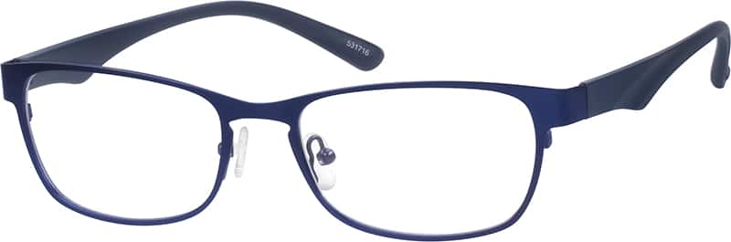 stainless steel full rim frame with plastic temples