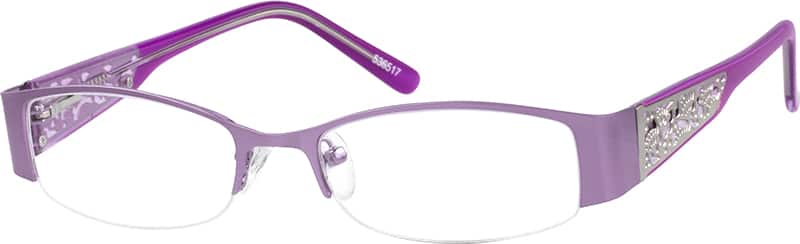 Women Half Rim Mixed Materials Eyeglasses #536521