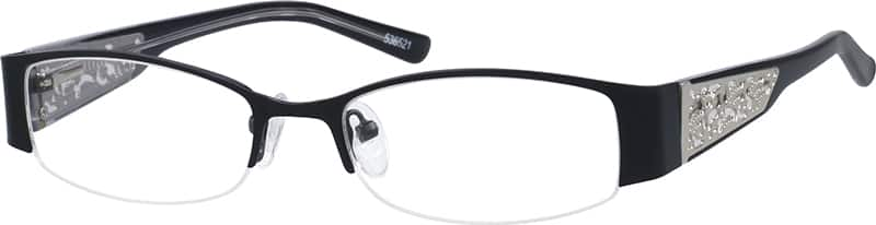 Women Half Rim Mixed Materials Eyeglasses #536517