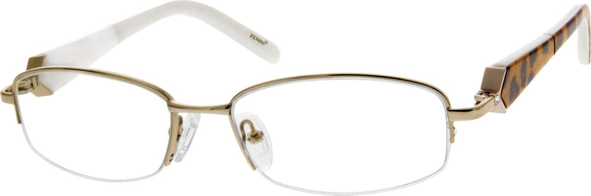Women Half Rim Mixed Materials Eyeglasses #536714