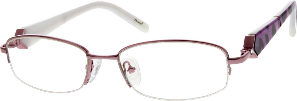 Metal Alloy Half-Rim Frame with Acetate Temples