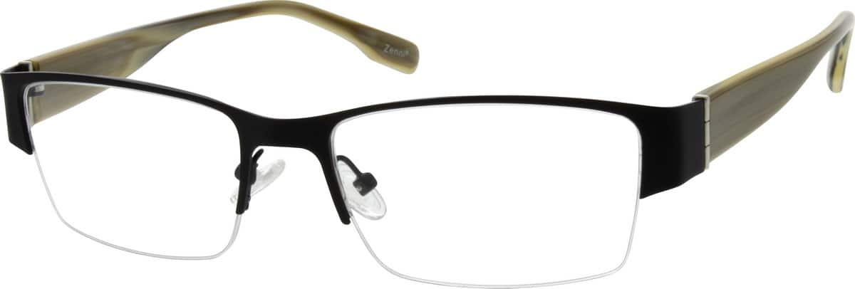 Men Half Rim Mixed Materials Eyeglasses #538421