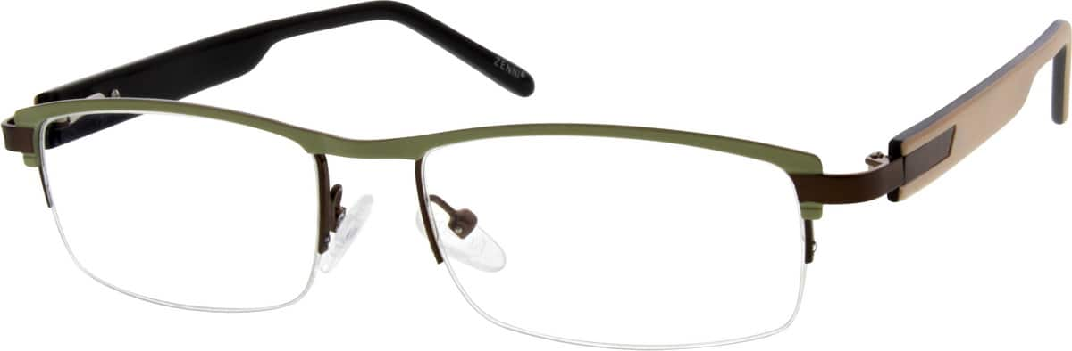 Unisex Half Rim Mixed Materials Eyeglasses #538724