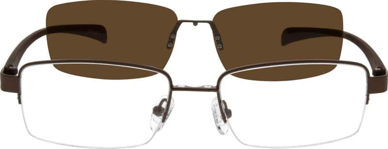 Men Half Rim Mixed Materials Eyeglasses #540615