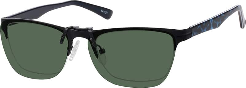 Stainless Steel Half-Rim Frame with Acetate Temples and Polarized Magnetic Snap-on Sunlens