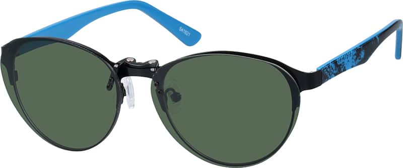 Stainless Steel Full-Rim Frame with Acetate Temples and Polarized Magnetic Snap-on Sunlens