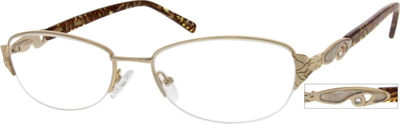 Women Half Rim Metal Eyeglasses #557217