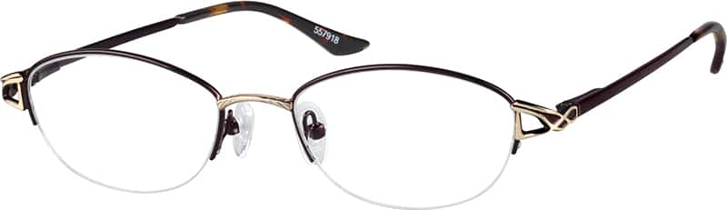 WomenHalf RimMetalEyeglasses #557917