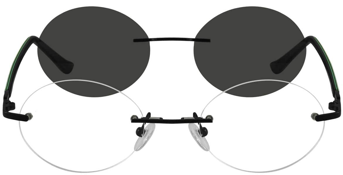 Unisex Rimless Mixed Materials Eyeglasses #580015