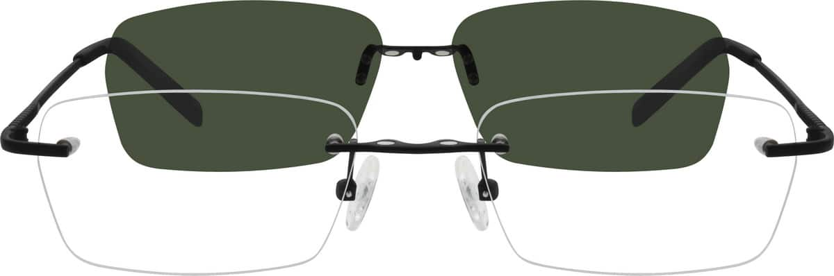 Rimless Glasses With Magnetic Sunglass : Silver Stainless Steel Rimless Frame with Polarized ...