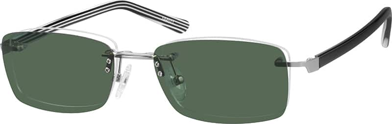 Metal Alloy Frame with Polarized Magnetic Snap-on Sunshade and Acetate Temples