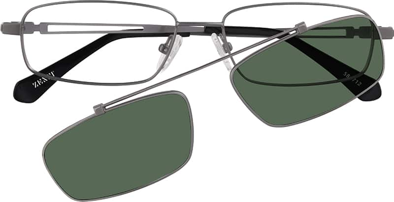 Gray Stainless Steel Full Rim Frame With Polarized Snap On