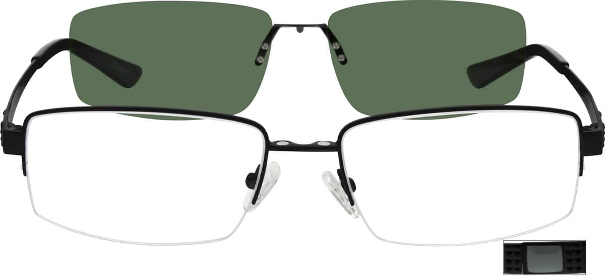 Men Half Rim Stainless Steel Eyeglasses #589612