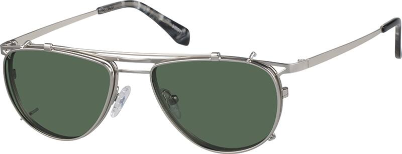 Stainless Steel Full-Rim Frame with Polarized Snap-on Sunlens