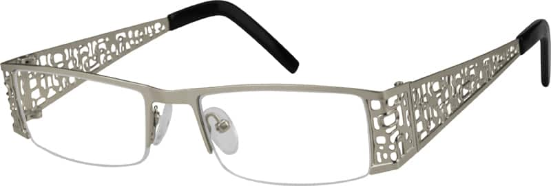 Men Half Rim Stainless Steel Eyeglasses #591211