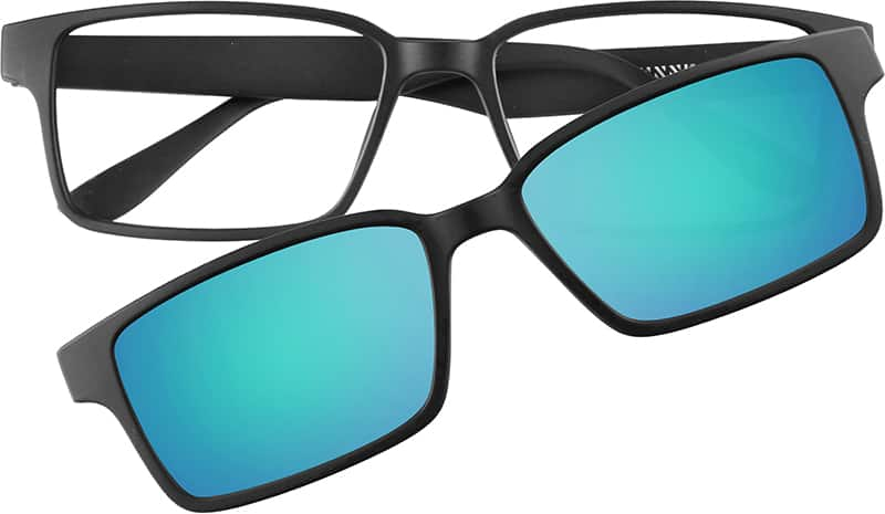 Black Rectangle Glasses With Magnetic Snap On Shades 64989