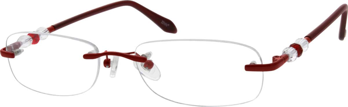 Rimless Metal Alloy Frame with Acetate Temples