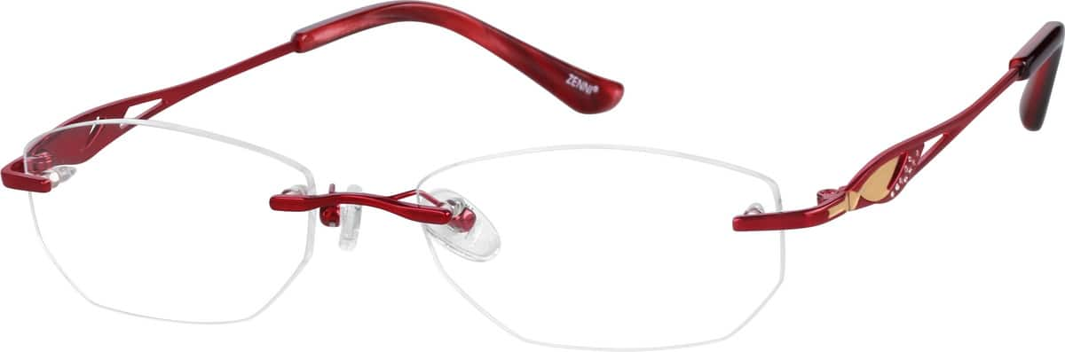 Rimless Metal Frame with Designer Temples