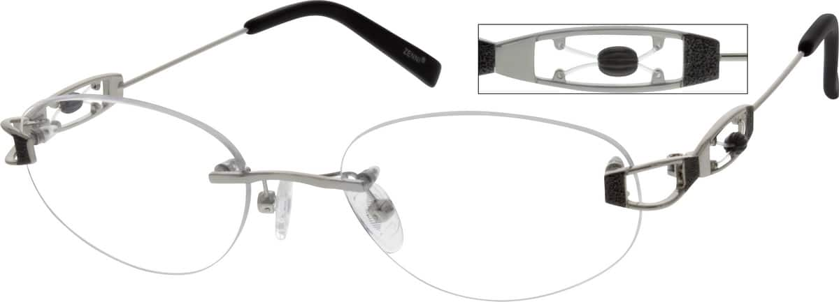 Women Rimless Metal Eyeglasses #655311