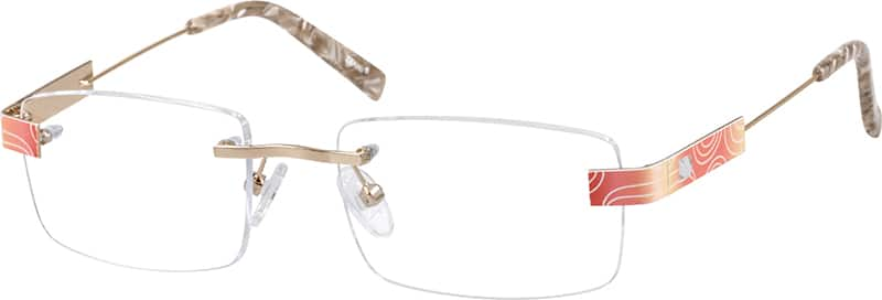Red Rimless Metal Alloy Frame #6555 | Zenni Optical Eyeglasses