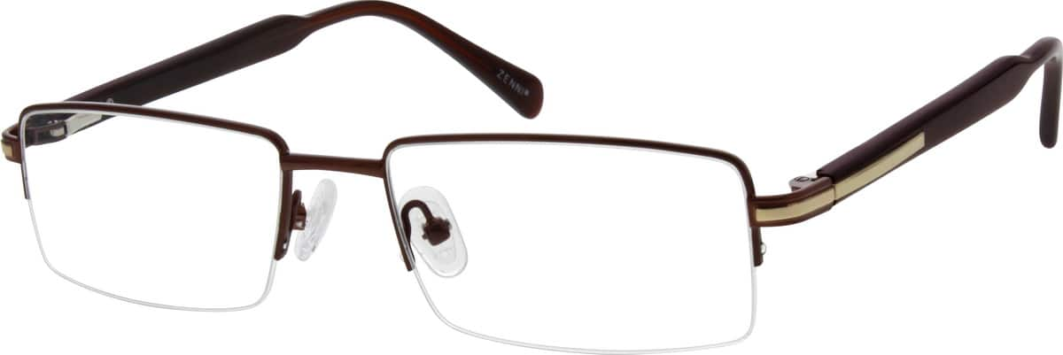 Men Half Rim Mixed Materials Eyeglasses #655815