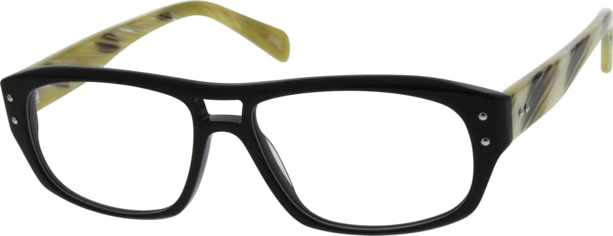 Acetate Eyeglasses Frame : Black Acetate Full-Rim Frame #6616 Zenni Optical Eyeglasses