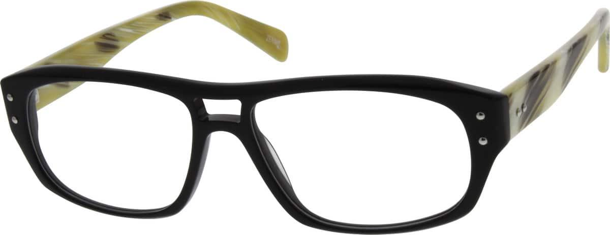Acetate Eyeglasses Frame : Black Acetate Full-Rim Frame #6616 Zenni Optical Eyeglasses
