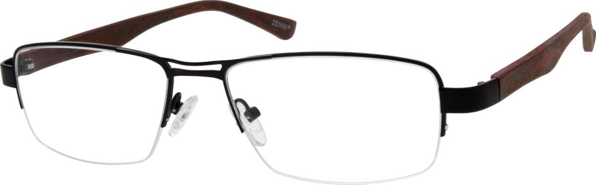 Men Half Rim Mixed Materials Eyeglasses #670121