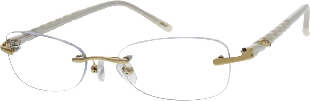 Women Rimless Mixed Materials Eyeglasses #672230
