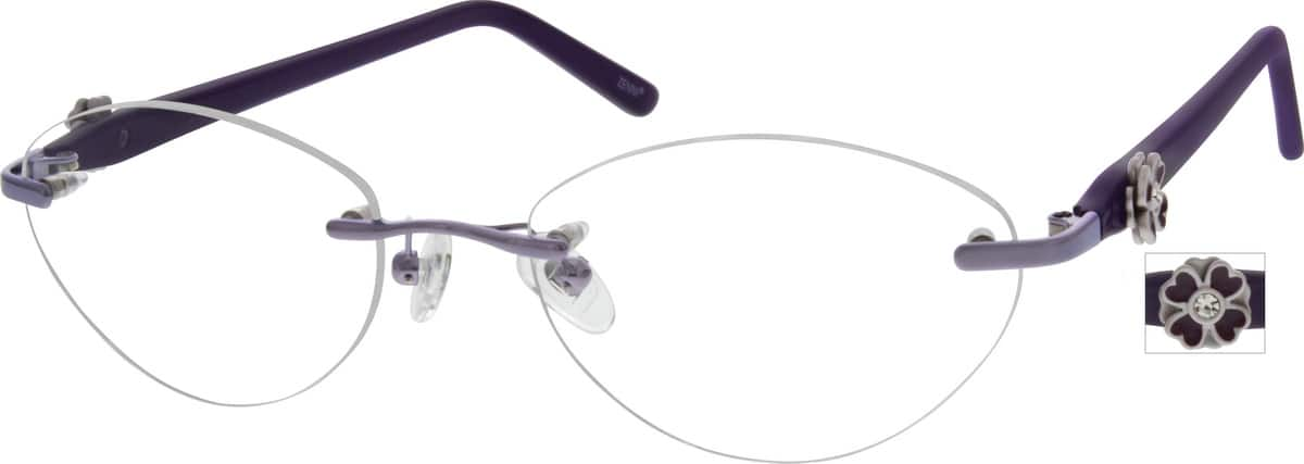 Women Rimless Mixed Materials Eyeglasses #672317