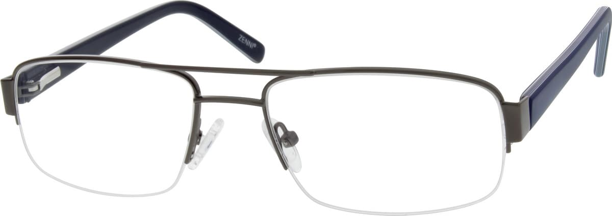 Men Half Rim Mixed Materials Eyeglasses #673314