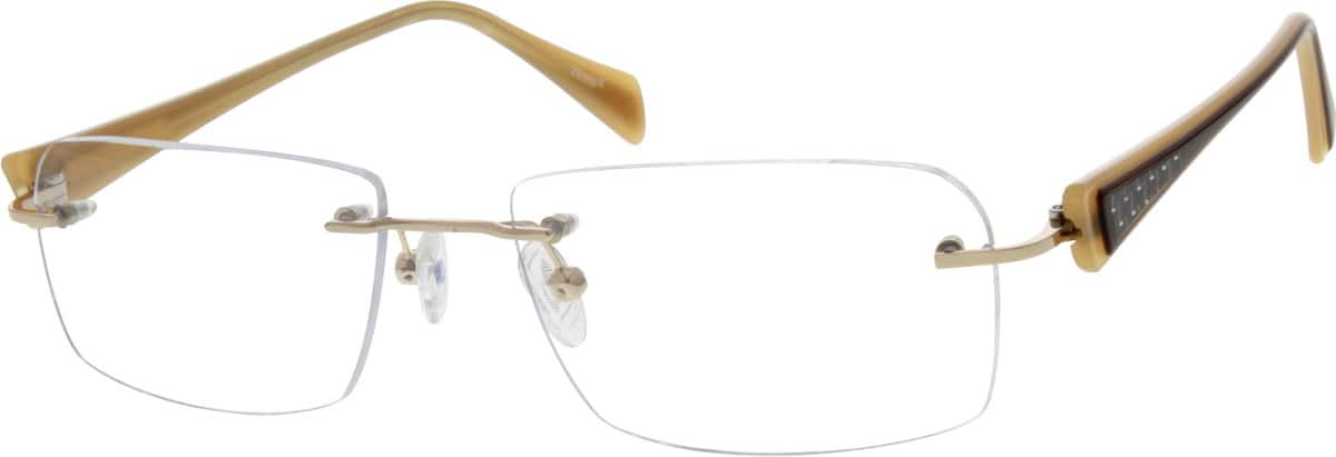 Unisex Rimless Mixed Materials Eyeglasses #674211