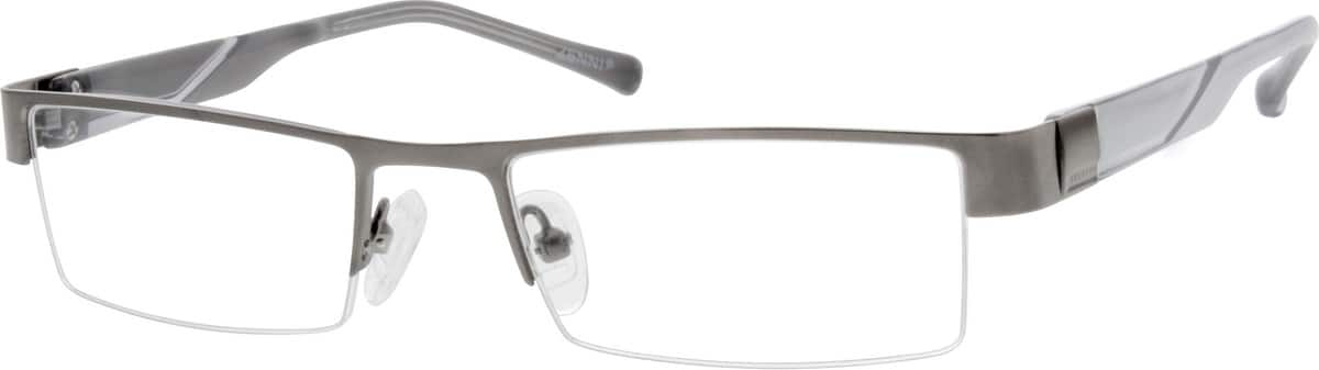 Men Half Rim Mixed Materials Eyeglasses #676421