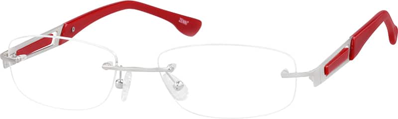 Rimless Stainless Steel Frame with Acetate Temples