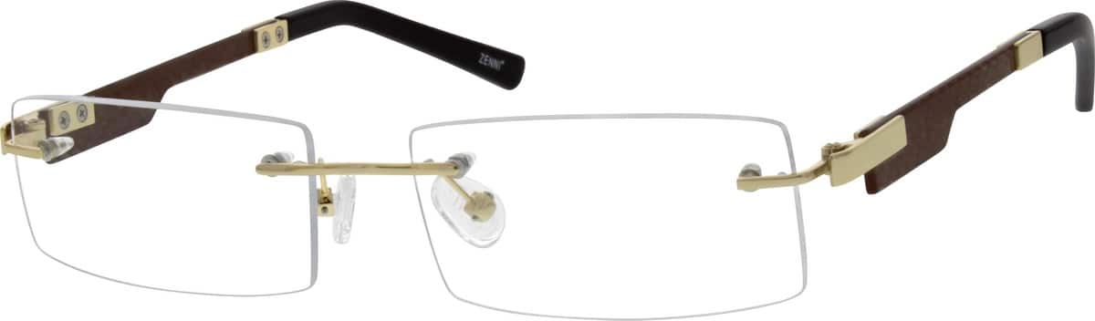Men Rimless Mixed Materials Eyeglasses #676814