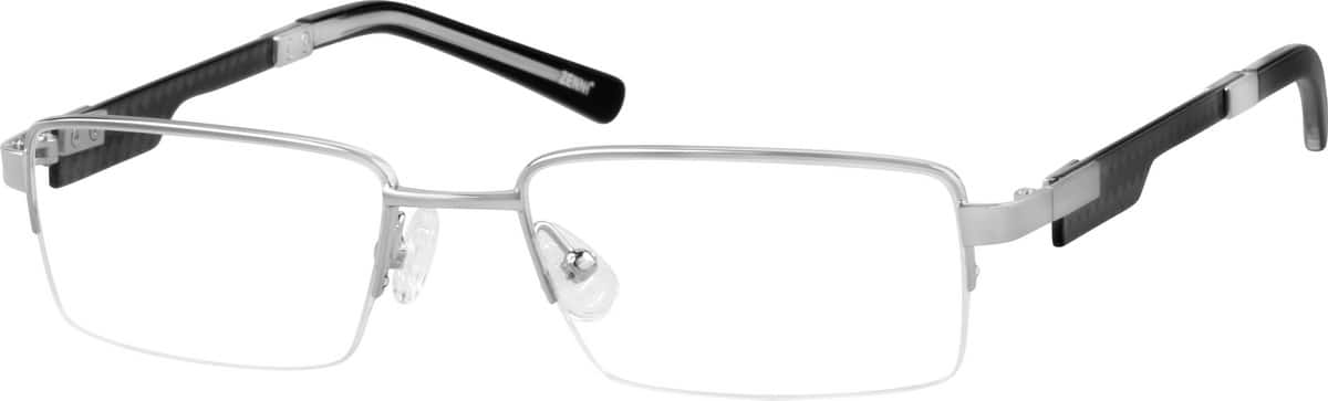 Men Half Rim Mixed Materials Eyeglasses #677021